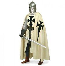 Halloween Costume Medieval Black Templar Tunic,Surcoat & Cloak Reenactment SCA
