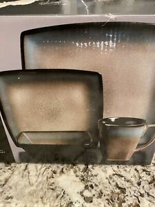 GIBSON TAUPE TEQUESTA 16pc SQUARE GLAZED STONEWARE DINNERWARE DISH MUG SET FOR 4