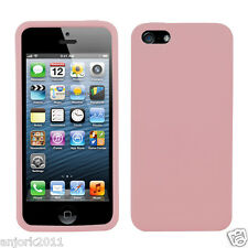 APPLE iPHONE 5 SOFT SILICONE SKIN RUBBER GEL COVER CASE ACCESSORY PEACH PINK