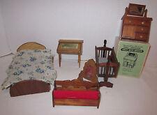 Vint. min. wood furniture 6 pc.lot, bed-cradle-desk-chest-ben ch with lid-mirror