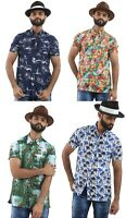 Mens Hawaiian Holiday Shirt Casual Smart Designer Navy White Short Sleeve Comfy