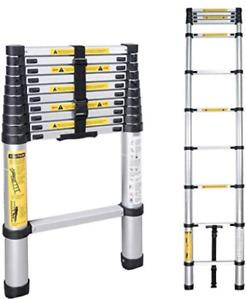 Telescopic Ladder, Multi-Purpose Folding Ladder Aluminium 2.6m/3.2m/3.8m/5m Max