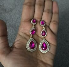 "2.25"" Drop Long Gold Hot Pink Fuchsia Rhinestone Dangle Crystal Prom Earrings"