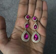 "2.25"" Drop Long Gold Hot Pink Fuchsia Rhinestone Dangle Crystal Prom Earrings"