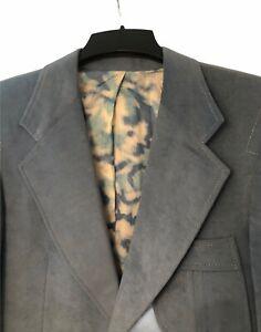 Vintage Rockabilly Western blue faux suede mens suit jacket coat sz S Small