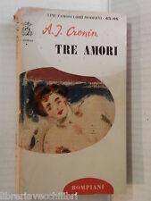 TRE AMORI A J Cronin Bompiani I piu famosi libri moderni 1967 romanzo libro di