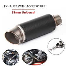 51mm Universal Modified Motorcycle ATV Scooter Carbon Fiber Exhaust Pipe Muffler