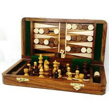 2 in 1 Magnetic Travel Chess & Backgammon set in Golden Rosewood 10 inches