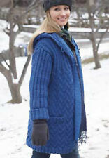 "Easy Womans Long Hooded Zig Zag Cable Coat 28""- 62"" Chunky Wool Knitting Pattern"
