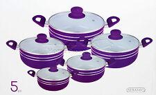 5pc Ceramic Coated Non Stick Die-Cast Casserole Set INDUCTION Cookware PURPLE -R