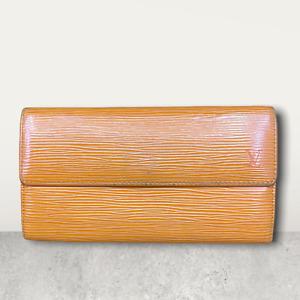 LV3084 LOUIS VUITTON Mandarin Orange Leather Sarah Long Envelope Wallet USA SHIP