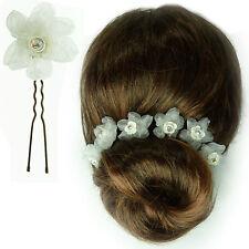 6 épingles pics cheveux chignon mariage mariée fleur organza blanc fimo cristal