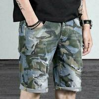 Men/'s Summer Trendy Camouflage Multi-pocket Denim Shorts Cargo Short Pants DDI9