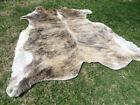 LARGE BRINDLE GRAY BROWN Cowhide Rug natural Cowhides Cow Hide Skin 6X6 FT RT