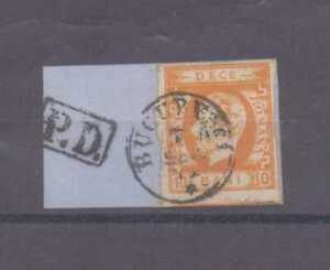 Romania 1871-72 10b orange used on piece