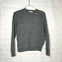 Vtg  J Crew Mens Gray Wool Sweater M Crewneck One Stripe Long Sleeve  Hong Kong