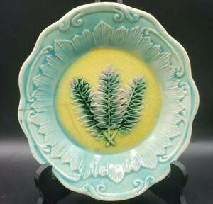 "Vintage Majolica Fern Leaf Dish 7"" x 7.75"" Green, Yellow & Pink **Has a crack**"