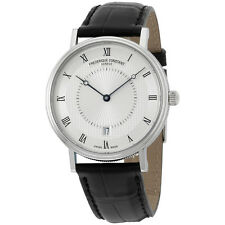 Frederique Constant Silver Dial Black Alligator Leather Mens Watch FC306MC4S36