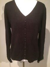EUC!!COLOUR WORKS Black Beaded Fringe Knit Sweater Size Medium Cardigan Gorgeous
