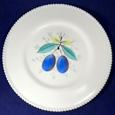 "Westmoreland Beaded Edge Milk Glass Plums Dinner Plate 10.25"" Fruits Pattern"