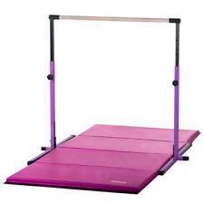 Purple Adjustable Horizontal Bar and 4ftX8ft Pink Folding Gymnastics Mat Combo