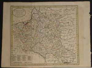 POLAND & LITHUANIA 1810 JOHN RUSSELL ANTIQUE ORIGINAL COPPER ENGRAVED MAP