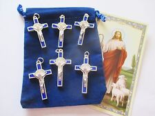 Wholesale Lot of 50 St. Benedict Light Blue w/ Silver Tone Metal Crucifixes
