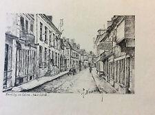 Pouilly-sur-Loire Nièvre dessin à l'encre signé  F.Nouaille 1948 . France