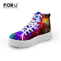 Womens Fashion Galaxy Ankle Boots Casual Lace Up Platform Sneakers Walking Shoes