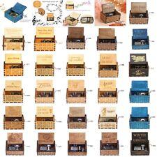Caja De Música Madera Retro Antigua Manivela Grabado Melody Music Box Regalo DIY