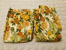 Vintage Pair of Mid Century Floral Drapes Flowers & Butterflies