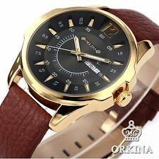 ORKINA Luxury Mens Black Date Day Dial Display Leather Quartz Analog Wrist Watch