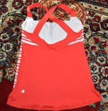 LULULEMON TRACK AND TRAIN TANK  INCLUDES CUPS RED/WHITE STRIPE SZ-8/M