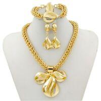 Women Bridal African Dubai Gold Necklace Earrings Ring Bracelet Jewelry Set