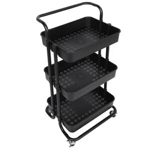 Waterproof Rolling Cart Movable Storage Trolley 3-Tier For Kitchen Bathroom