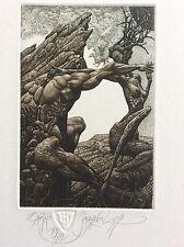"JULIAN JORDANOV ,Etching , Ex Libris, ""Earth"" 2014 ,Limited Ed. 20/30"