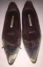 Authentic Manolo Blahnik Women's Camouflage Pointy Toe Flats Size 35 1/2