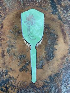 VTG Art Deco Dupont Green Pyralin Celluloid Hair Brush 1920's Vanity Dressing