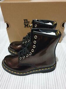 Dr Martens 1460 Burgundy Patent Glitter Boots- Size UK 4 Purple Brand New Orgina