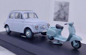 VITESSE 1/43 Fiat 500 1957 celeste con scooter vespa Piaggio ottimo stato