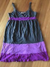 LADIES GREY & PURPLE POLYCOTTON SLEEVELESS DRESS BY PIPING HOT - SIZE 10 CHEAP