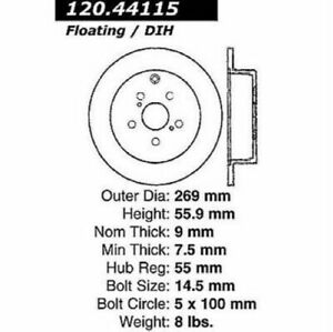 StopTech 126.44115SR Sport Slotted Brake Rotor For 05-10 Scion tC NEW