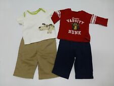 4 Piece Carters Disney Baby Boys 0-3M Shirt & Pants Outfit Lot Great Condition