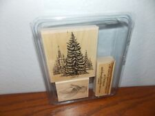 Stampin Up A Wish for Peace Christmas Trees Dove Year 3 Wood Mount Stamps L0618