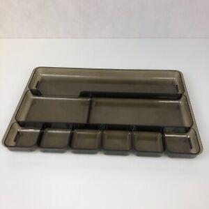 """VTG Rogers Gray Smoke Plastic Desk Vanity Drawer 14"""" X 9"""" Office Organizer Tray"""