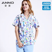 ANNO Unisex Medical Scrubs Top Bottom Nurse Uniform Work Clothing Surgical Suit