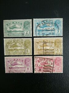 INDIA 1929 Air Mail, Set of 6 Good Used