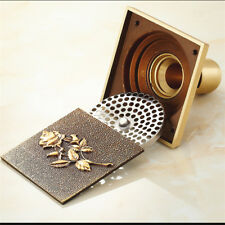 4 inches Square Floor Drain  Antique Brass Shower Waste Water Drainage Cover