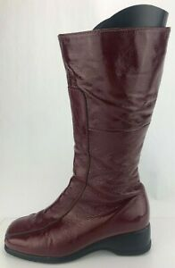 La Canadienne Knee High Boots Blanche Patent Leather Red Zip Wedge Womens 8.5 M