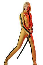 Uma Thurman 11x17 Mini Poster in yellow outfit with samurai sword Kill Bill